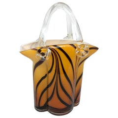 Murano Glass Handbag Vase Sommerso Vintage, Italy, 1960s