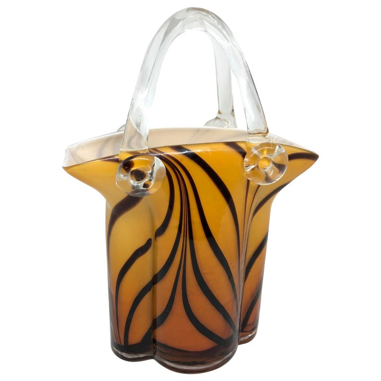 Murano Glass Handbag Vase Sommerso Vintage, Italy, 1960s For Sale