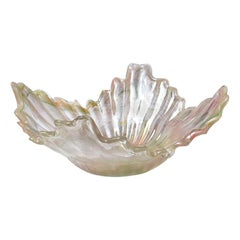 Murano Glass Handkerchief Draped Bowl in Pink Green and Pearlized Finish