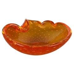 """Murano Glass """"Honey"""" Bowl Element Shell Ashtray Seguso Murano, Italy, 1970s"""