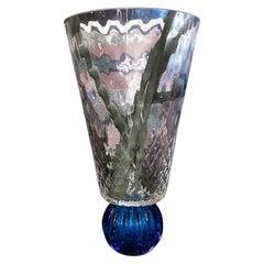 Murano Glass in Blue Handmade Vase Handmade in Italy