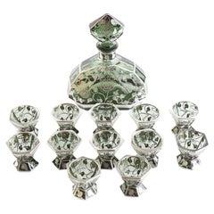 Murano Glass / Inlaid Silver Barware Service