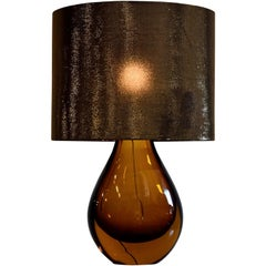 Murano Glass Italian Mid-Century Modern Amber Table Lamp