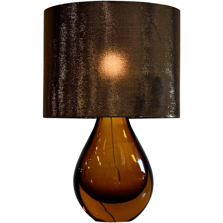 Murano Glass Italian Mid Century Modern Amber Table Lamp For Sale At