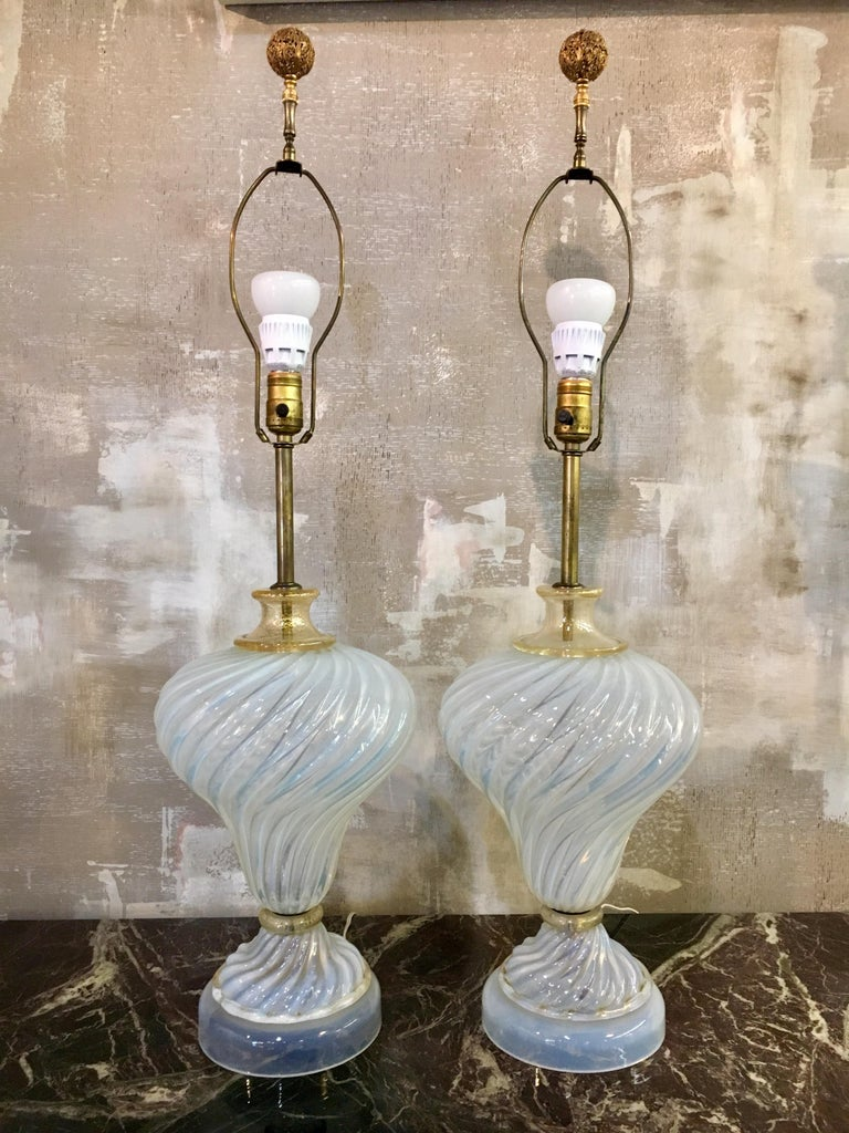 Late 20th Century Murano Glass Italy Pair of Table Lamps For Sale