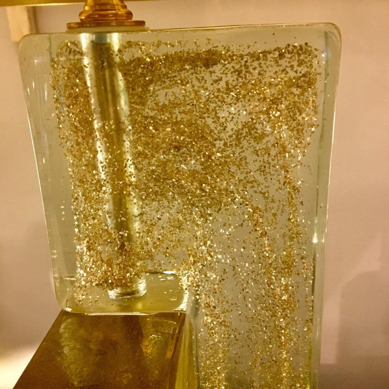 Murano Glass Lamp Clear Glass Infused with Gold Flecks, Brass Lampshade, 1970s For Sale 1