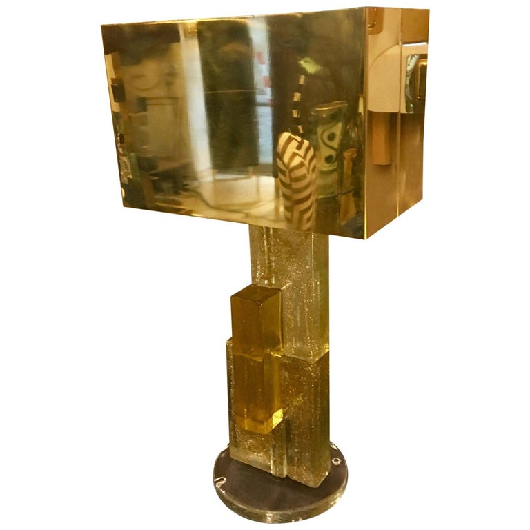 Murano Glass Lamp Clear Glass Infused with Gold Flecks, Brass Lampshade, 1970s For Sale