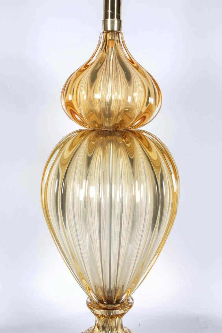 Italian Murano Glass Lamp in Champagne Gold by Marbro Company For Sale