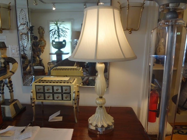 Blown Glass Murano Glass Lamp Attributed to Barovier For Sale