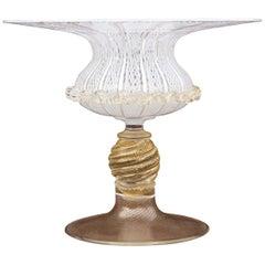 Murano Glass Latticino Compote
