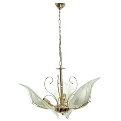 Murano Glass Leaf and Brass Chandelier by Massive Leuchten Germany, 1960s