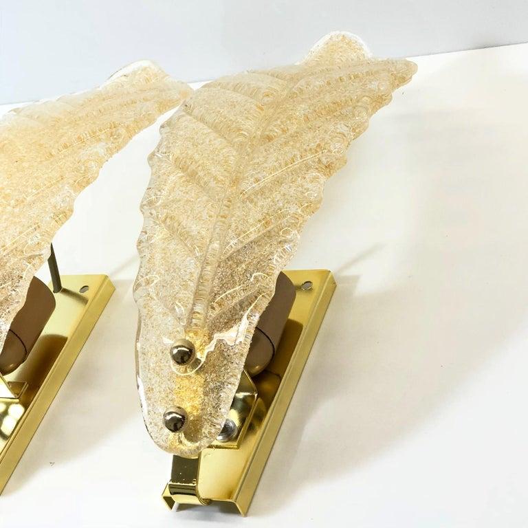 Italian Murano Glass Leaf Wall Sconces For Sale