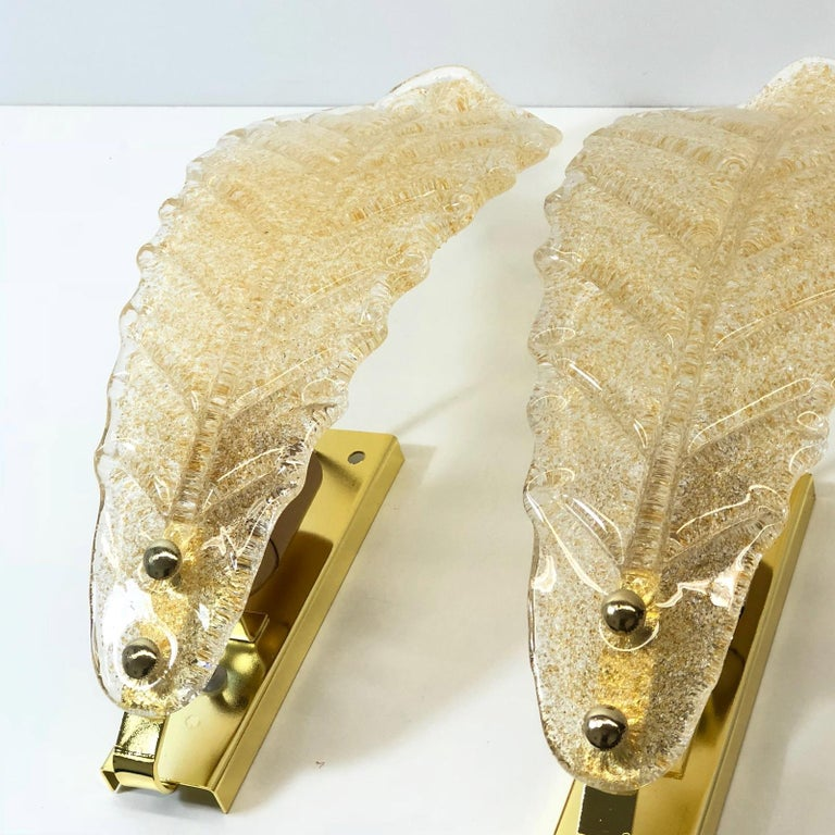 Murano Glass Leaf Wall Sconces In Good Condition For Sale In Frisco, TX