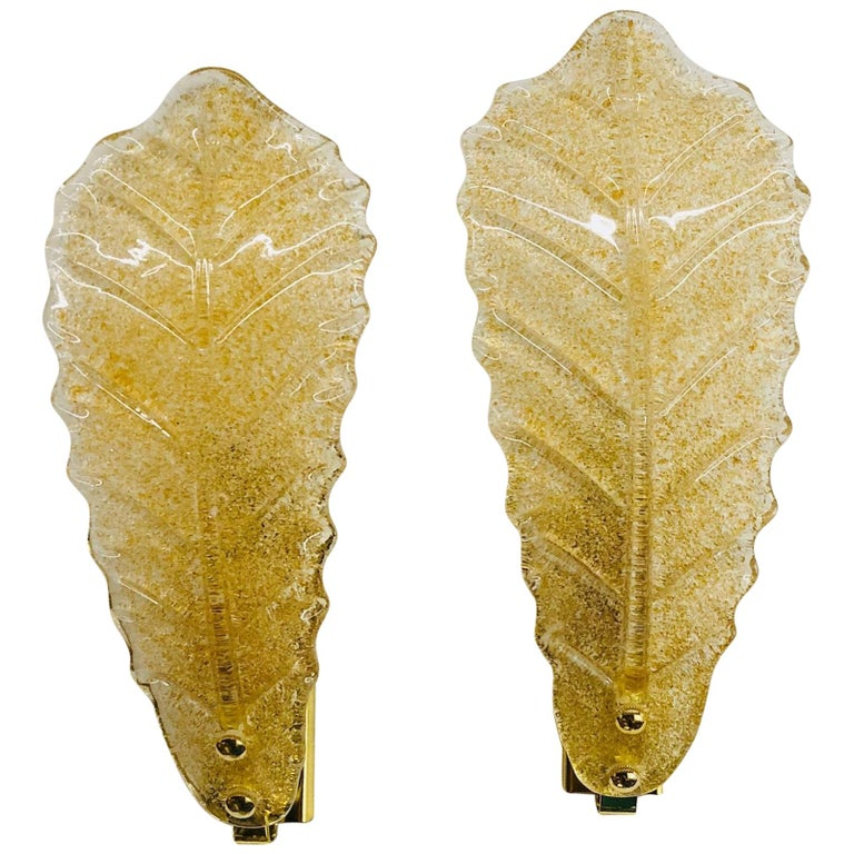 Murano Glass Leaf Wall Sconces For Sale