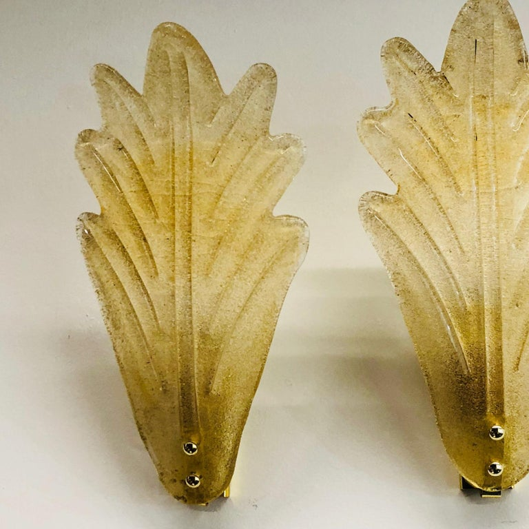 Italian Murano Glass Leaf Wall Sconces ! Trade Price reduced ! For Sale