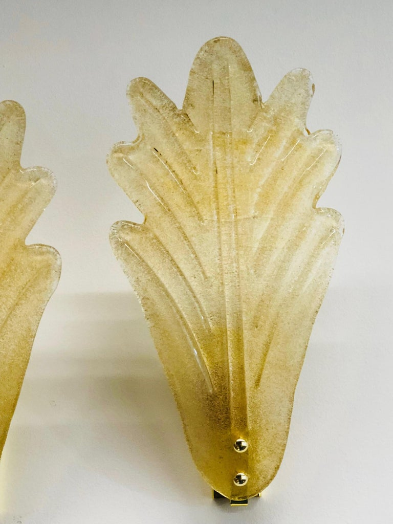 Late 20th Century Murano Glass Leaf Wall Sconces ! Trade Price reduced ! For Sale