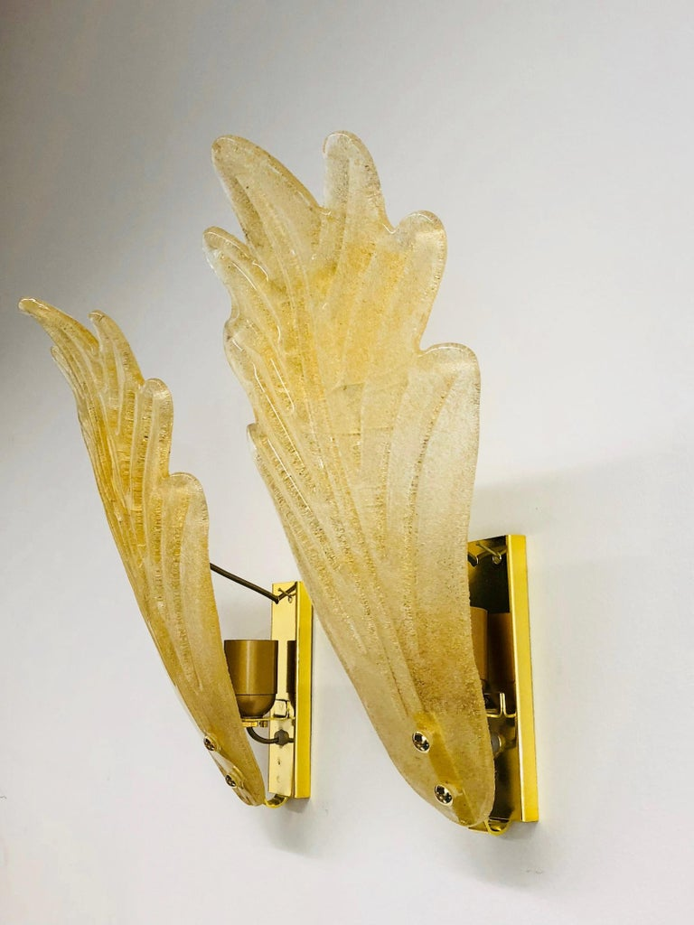 Murano Glass Leaf Wall Sconces ! Trade Price reduced ! For Sale 2