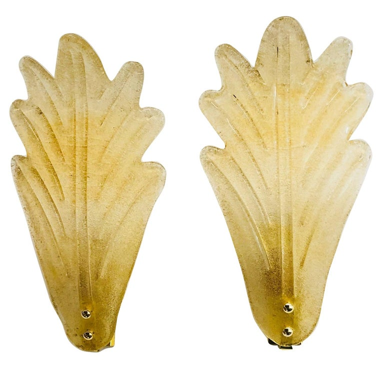 Murano Glass Leaf Wall Sconces ! Trade Price reduced ! For Sale
