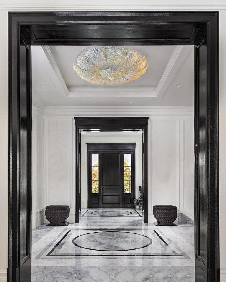 Italian Murano Glass Leave Flush Mount or Ceiling Lights For Sale
