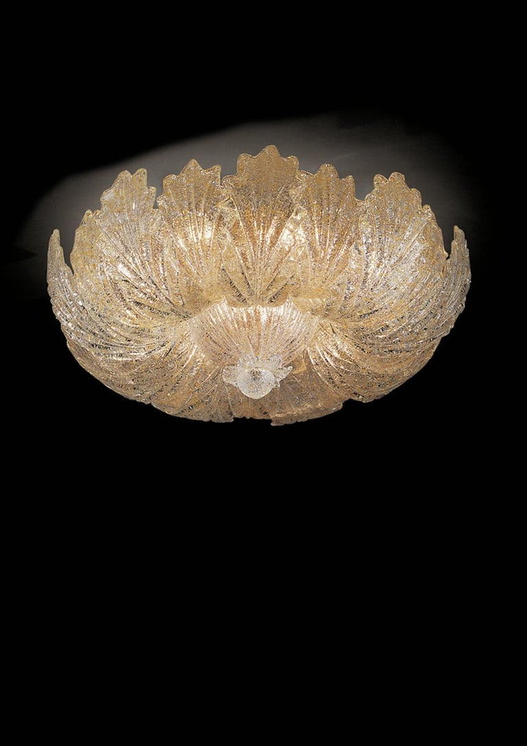 Murano Glass Leave Flush Mount or Ceiling Lights For Sale 1