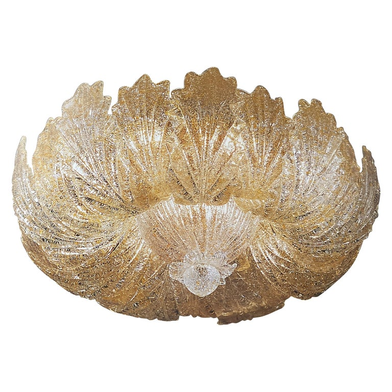 Murano Glass Leave Flush Mount or Ceiling Lights For Sale