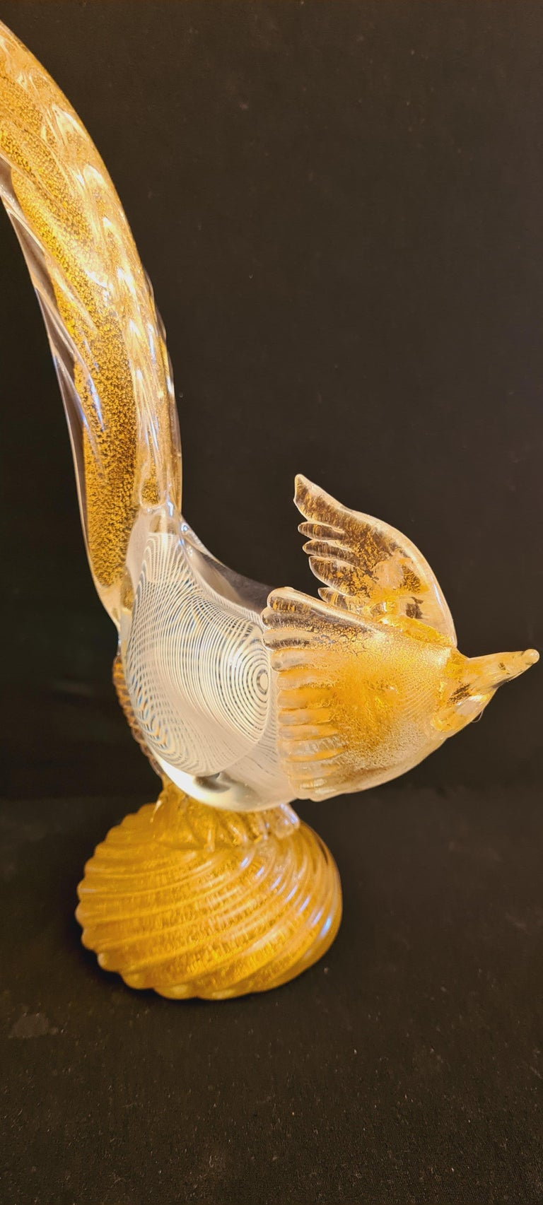 Other Murano Glass Mezza Filigrana Pheasant with Gold Leaf  For Sale