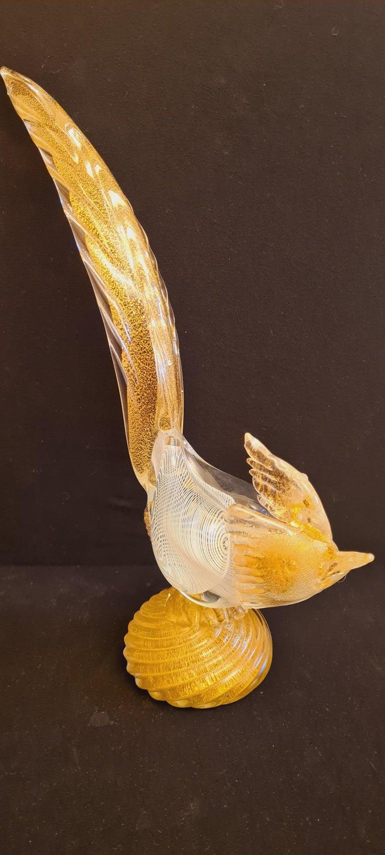 Italian Murano Glass Mezza Filigrana Pheasant with Gold Leaf  For Sale