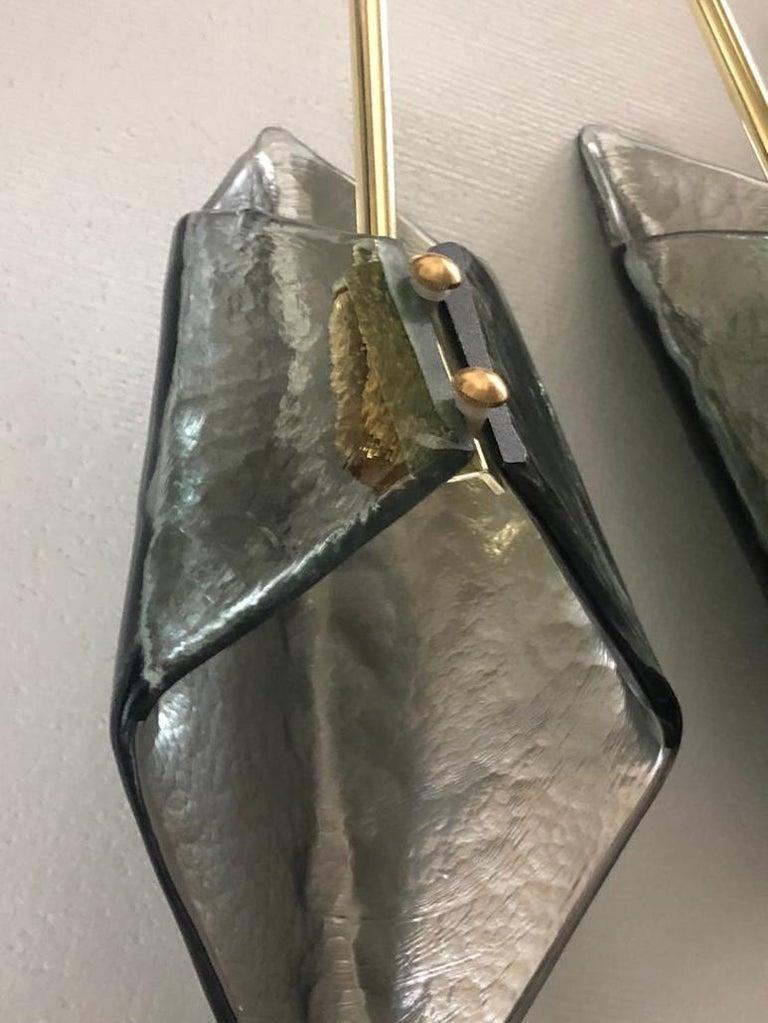Brass Murano Glass Midcentury Chandelier, 1980 For Sale