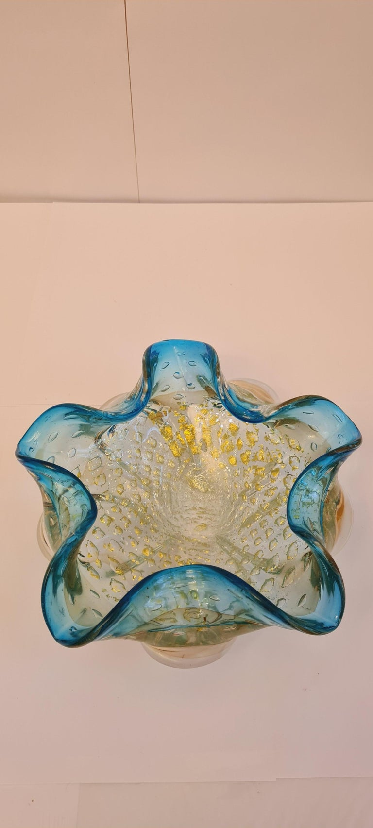 Other Murano Glass Mid-Century Bowls with Gold and Silver Leaf For Sale