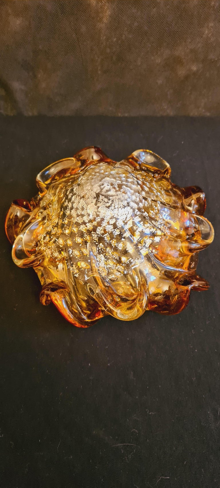 Mid-20th Century Murano Glass Mid-Century Bowls with Gold and Silver Leaf For Sale