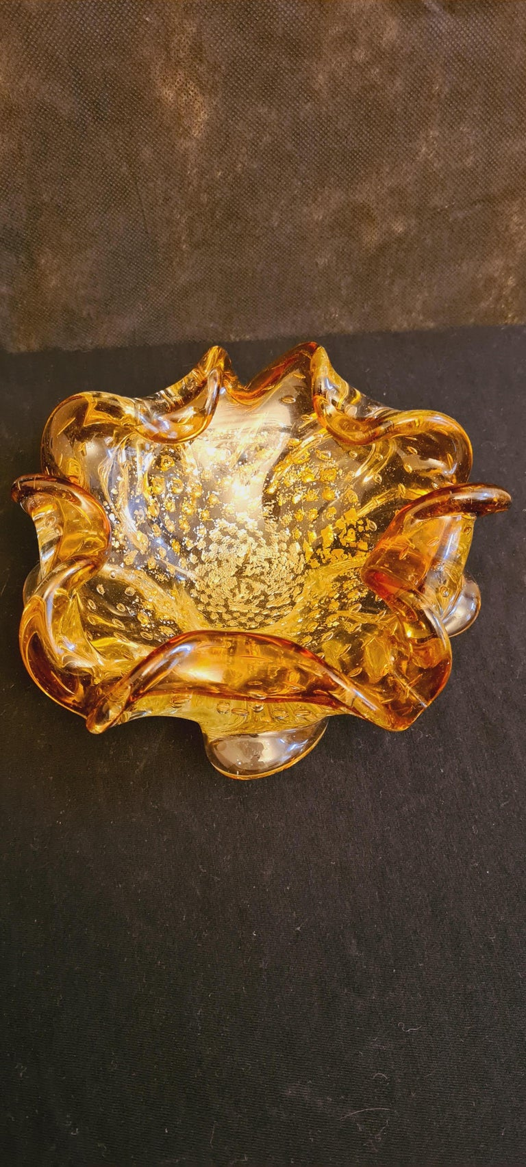 Murano Glass Mid-Century Bowls with Gold and Silver Leaf For Sale 2