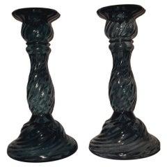Murano Glass Mid-Century Candleholders, Archimede Seguso
