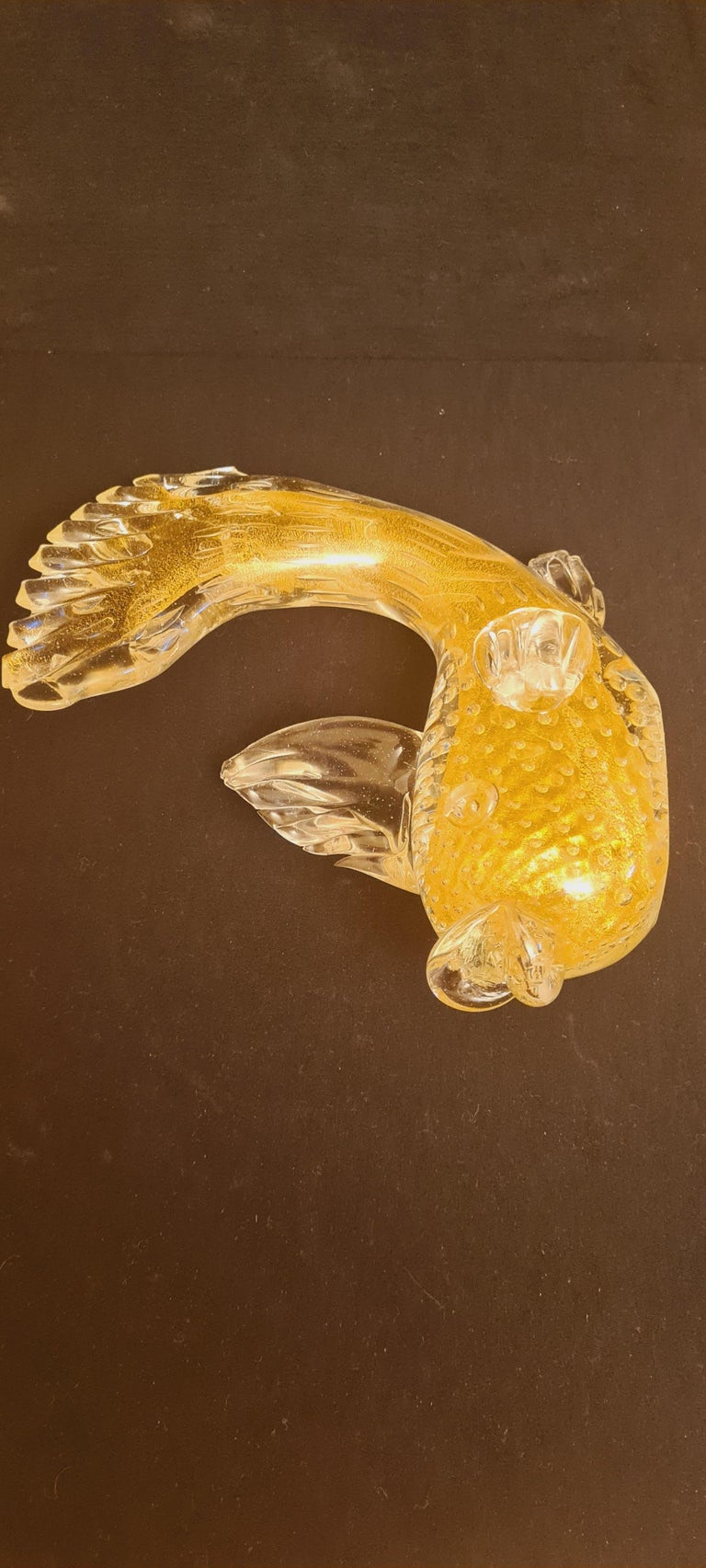 Italian Mid-Century Murano Cordonato D`oro Glass Fish with Gold Leaf For Sale
