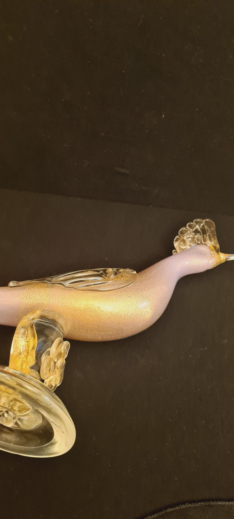 Mid-Century Murano Glass Pink Opaline Bird with Gold Leaf In Excellent Condition For Sale In Grantham, GB