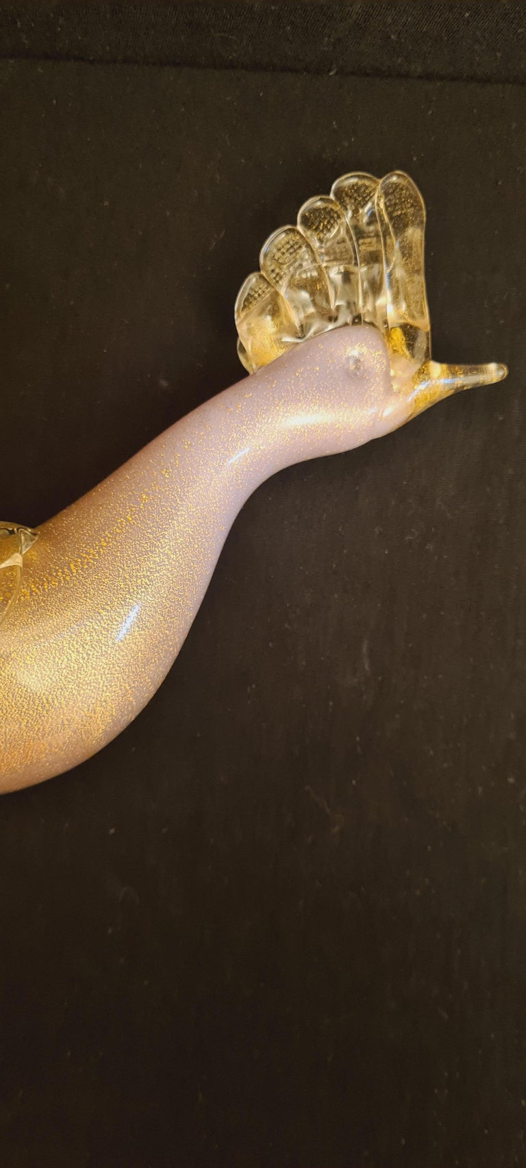 Mid-20th Century Mid-Century Murano Glass Pink Opaline Bird with Gold Leaf For Sale