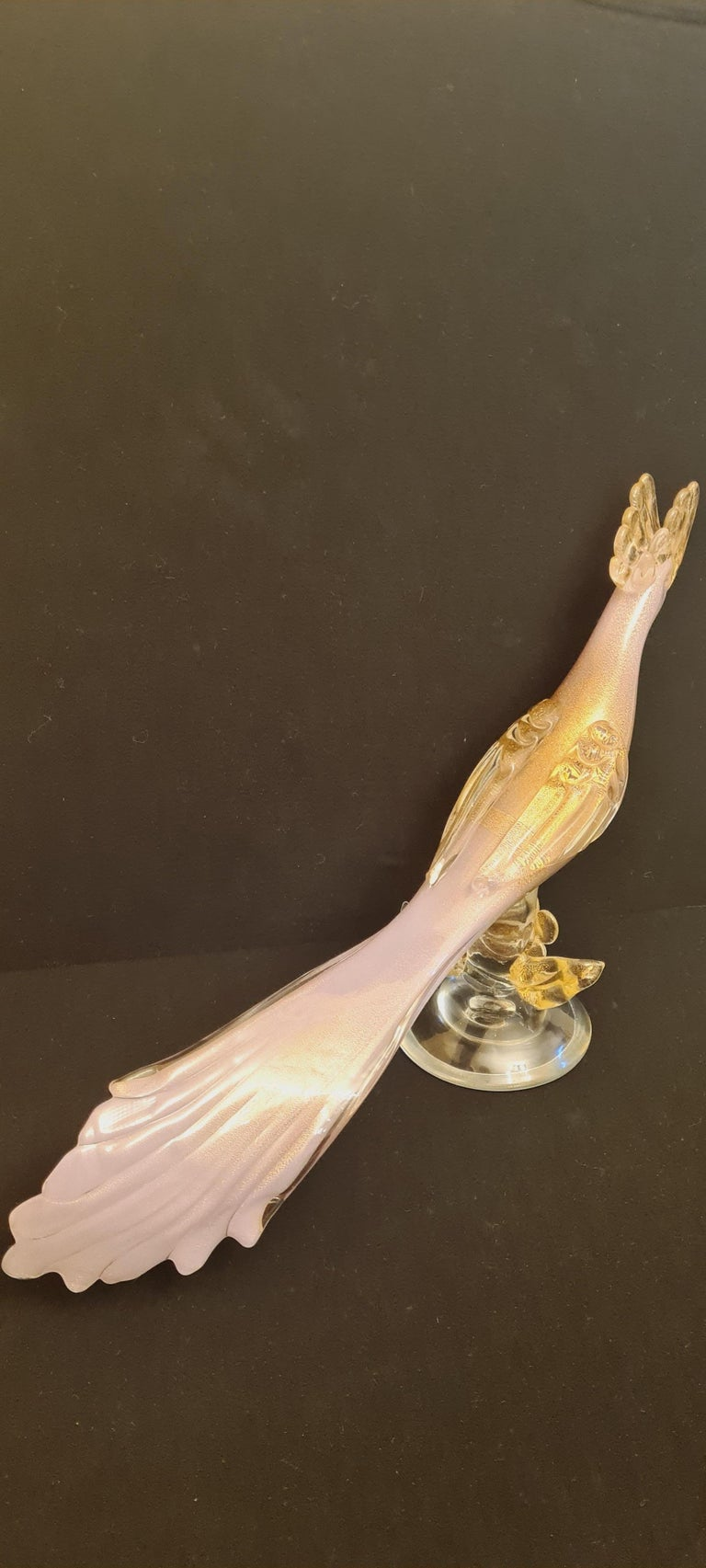 Art Nouveau Mid-Century Murano Glass Pink Opaline Bird with Gold Leaf For Sale