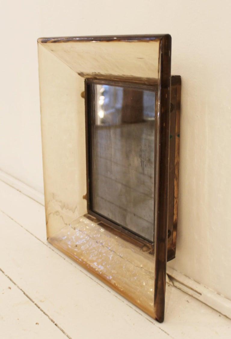 Murano glass mirror by Carlo Scarpa for Venini, Italy 1930s