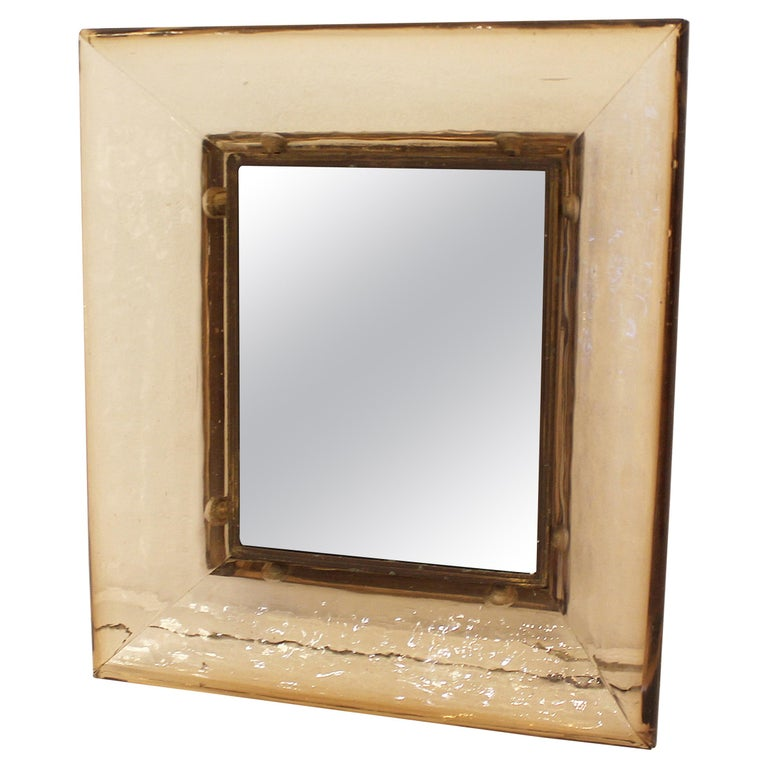 Murano Glass Mirror by Carlo Scarpa for Venini, Italy, 1930s For Sale