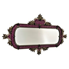 Murano Glass Mirror in Venetian Style, in Black/Gold Leaves and Purple Frame
