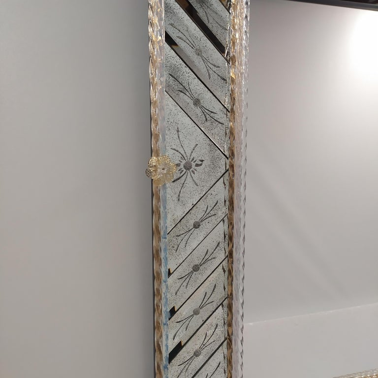 Other Murano Glass Mirror Rectangular, in Venetian Style by Fratelli Tosi For Sale