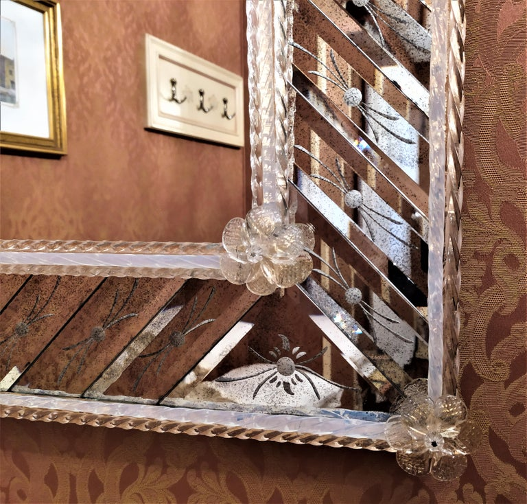 Hand-Crafted Murano Glass Mirror Rectangular, in Venetian Style by Fratelli Tosi For Sale