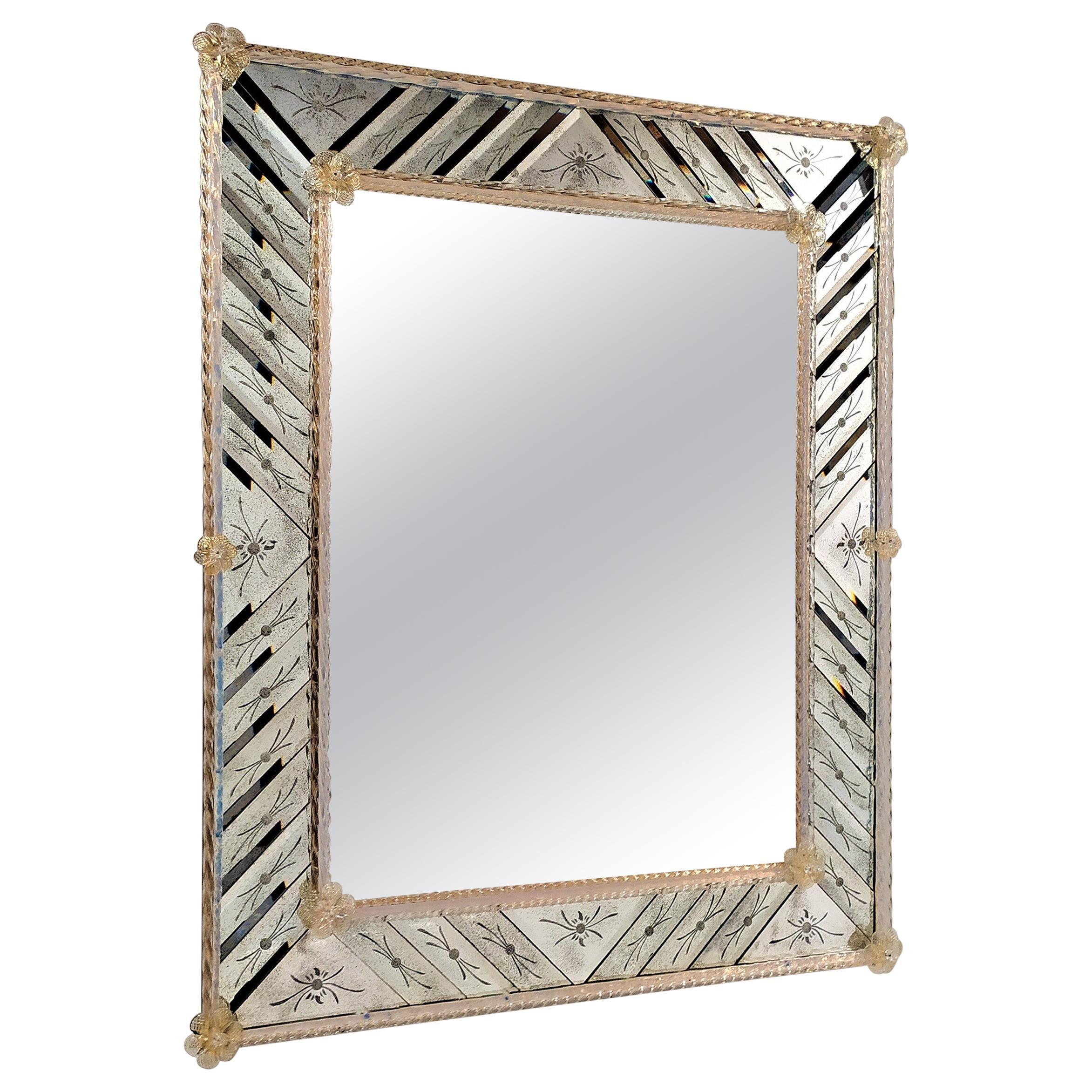 Murano Glass Mirror Rectangular, in Venetian Style by Fratelli Tosi