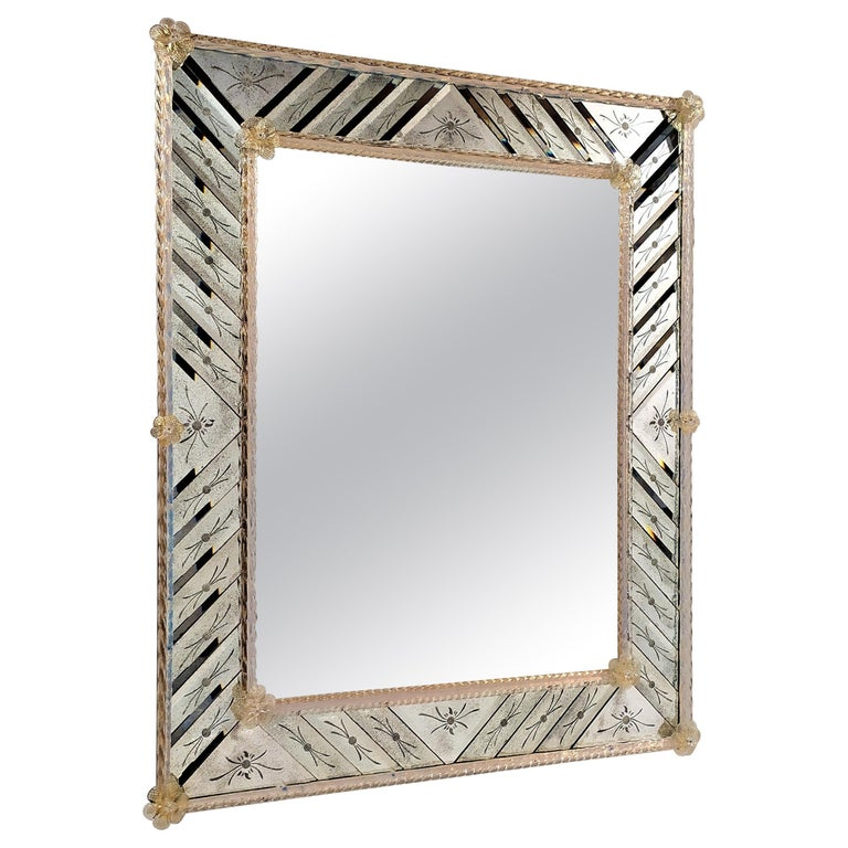 Murano Glass Mirror Rectangular, in Venetian Style by Fratelli Tosi For Sale