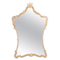 Murano Glass Mirror with Gold Finishes Art Deco 1980s Italy