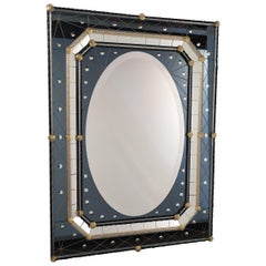 Murano Glass Mirror with Polished Bubbles Engraving on Steel-Colored Mirror