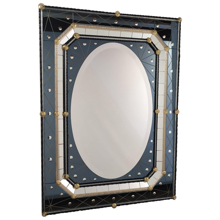 Murano Glass Mirror with Polished Bubbles Engraving on Steel-Colored Mirror For Sale