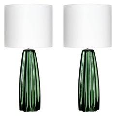 Murano Glass Mirrored Green Lamps