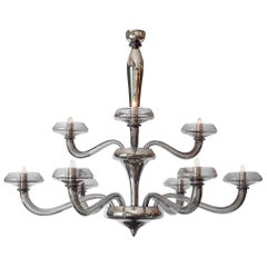 Murano Glass Modernist Pewter Chandelier