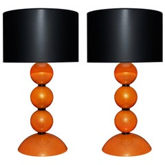 Murano Glass Orange Lamps