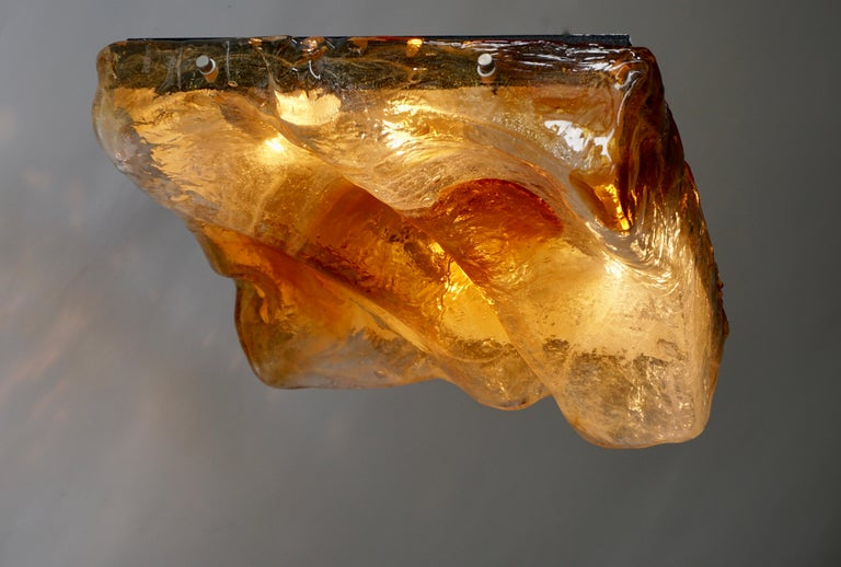 Murano Glass Organic Wave Flush Mount or Wall Light by Mazzega For Sale 2